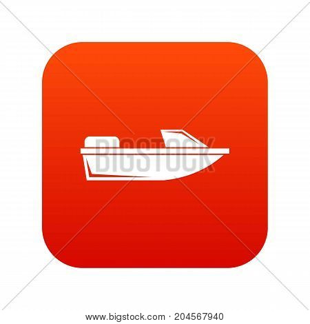 Sports powerboat icon digital red for any design isolated on white vector illustration