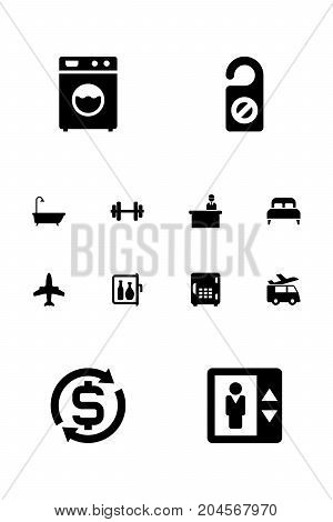 Collection Of Bathtub, Chiller, Airplane And Other Elements.  Set Of 12 Hotel Icons Set.
