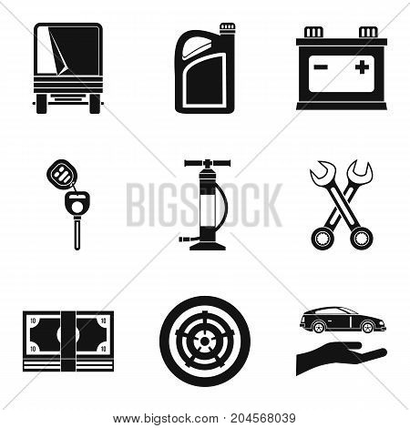 Replacing part icons set. Simple set of 9 replacing part vector icons for web isolated on white background