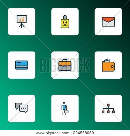Job Colorful Outline Icons Set. Collection Of Bank Cash, Billboard Presentation, Portfolio And Other Elements