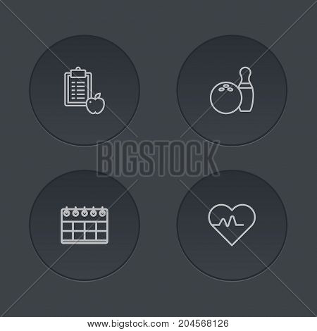 Collection Of Diet, Pulse, Bowling And Other Elements.  Set Of 4 Training Outline Icons Set.