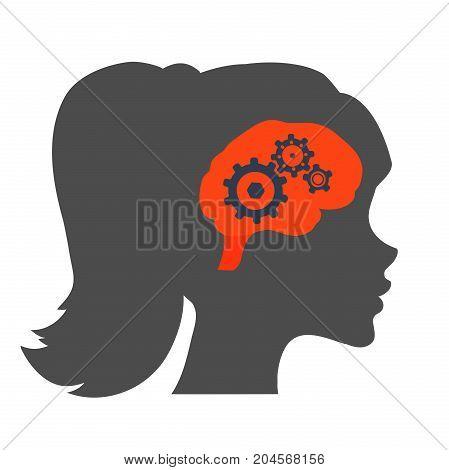 Human brain vector illustration. Woman brain Icon