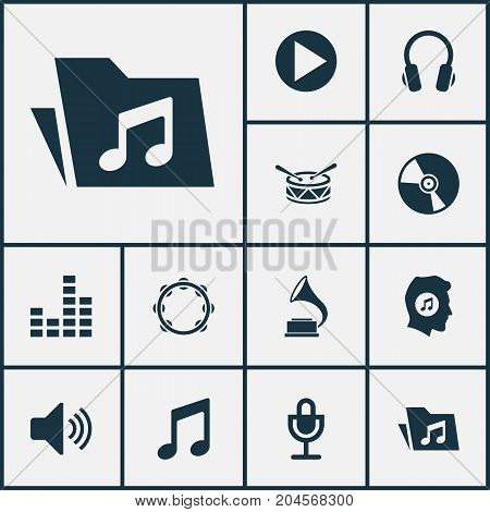 Audio Icons Set. Collection Of Timbrel, Phonograph, Barrel And Other Elements