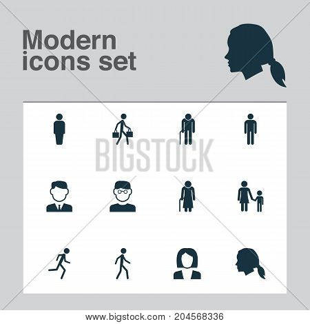 Person Icons Set. Collection Of Gentlewoman Head, Old Woman, Grandpa Elements