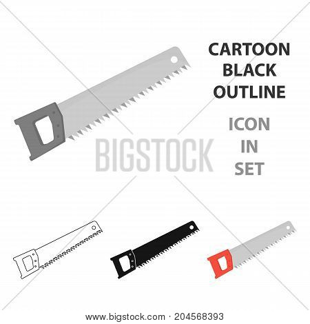 Hand saw icon in cartoon style isolated on white background. Build and repair symbol vector illustration.