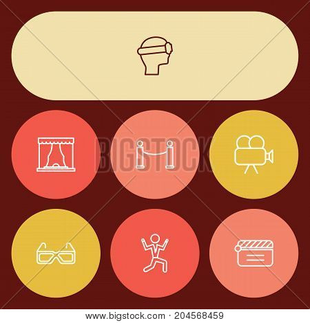 Collection Of Clapperboard, Barrier Rope, Dancing Man And Other Elements.  Set Of 7 Entertainment Outline Icons Set.