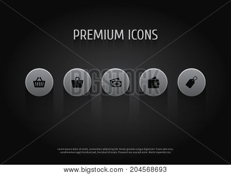Collection Of Billfold, Bag, Dollar And Other Elements.  Set Of 5 Shopping Icons Set.