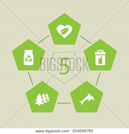 Collection Of Food, Garbage Bag, Leaves And Other Elements.  Set Of 5 Ecology Icons Set.