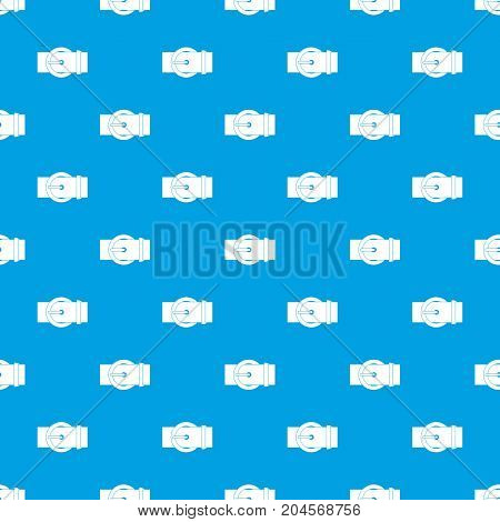 Circle belt buckle pattern repeat seamless in blue color for any design. Vector geometric illustration