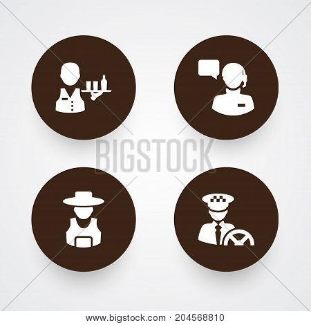 Collection Of Producer, Driver, Rancher And Other Elements.  Set Of 4 Job Icons Set.