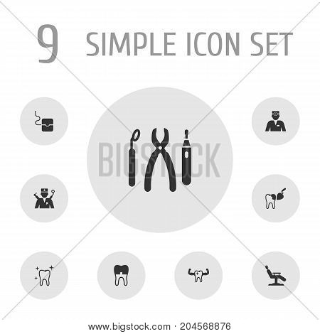 Collection Of Clean, Orthodontist, Armchair And Other Elements.  Set Of 9 Dentist Icons Set.