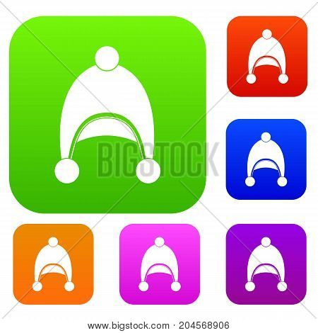 Warm hat set icon color in flat style isolated on white. Collection sings vector illustration