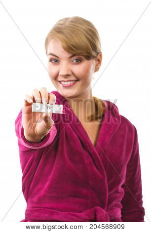 Happy Smiling Woman Showing Pregnancy Test With Positive Result