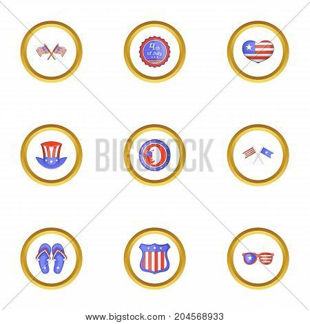USA independence day icons set. Cartoon style set of 9 USA independence day vector icons for web design