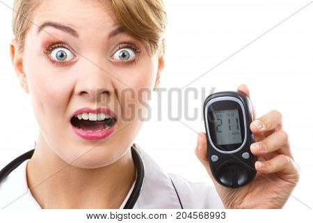 Shocked Woman Holding Glucometer With Bad Result Of Measurement Sugar Level, Concept Of Diabetes
