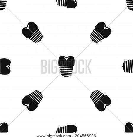 Tooth implant pattern repeat seamless in black color for any design. Vector geometric illustration