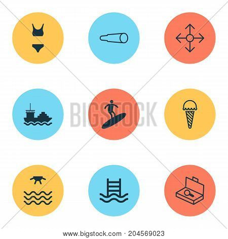 Tourism Icons Set. Collection Of Bathing Costume, Magnifying Glasses, Sunrise And Other Elements