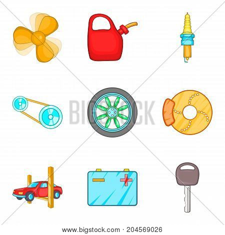 Engine repair icons set. Cartoon set of 9 engine repair vector icons for web isolated on white background