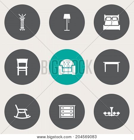 Collection Of Rocking Furniture, Commode, Stool And Other Elements.  Set Of 9 Set Icons Set.