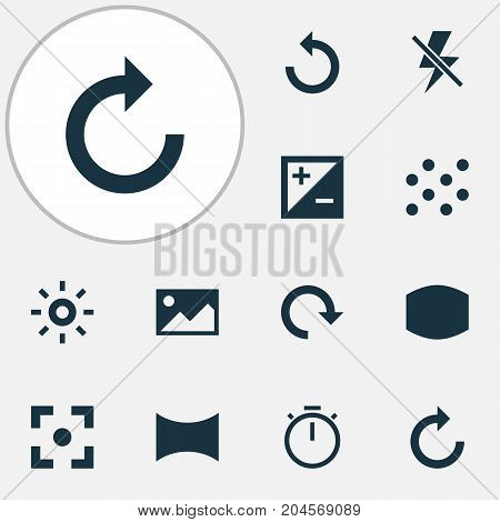 Image Icons Set. Collection Of Monitor, Round, Angle And Other Elements
