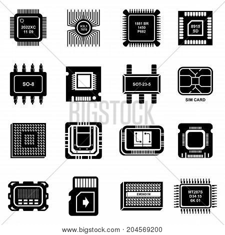 Computer chips icons set. Simple illustration of 16 computer chips vector icons for web