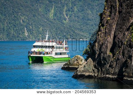 Tour Boat Cruises In Milford Sound, New Zealand