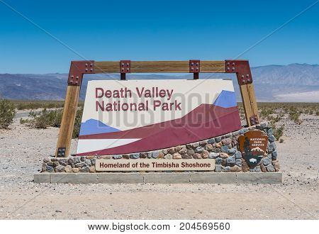 Death Valley National Park California United States: June 26th 2017: Death Valley National Park Welcome Sign