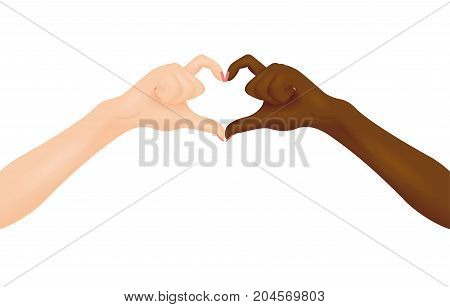 Black and white hands making heart shape. Vector illustration. Interracial friendship concept