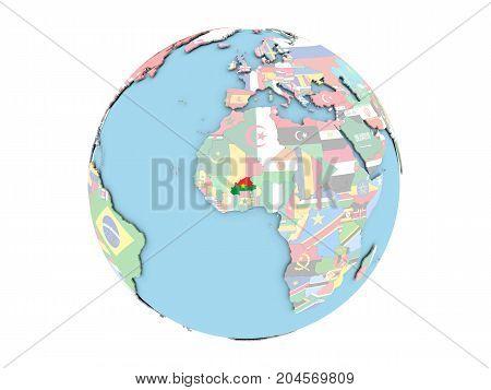 Burkina Faso On Globe Isolated