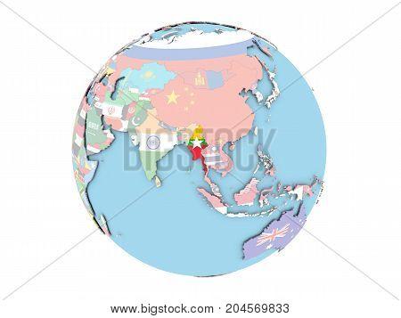 Myanmar On Globe Isolated
