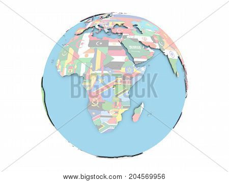 Rwanda On Globe Isolated
