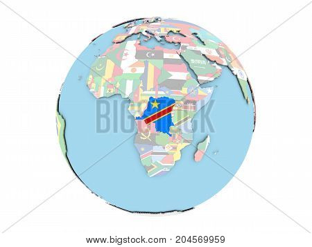 Democratic Republic Of Congo On Globe Isolated