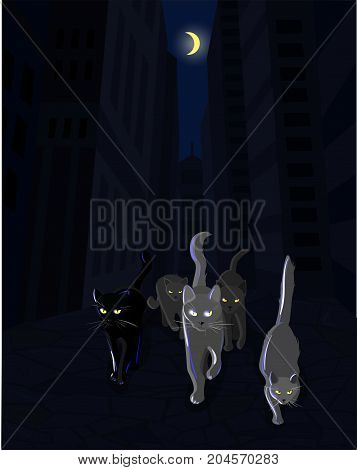 Cat mafia gang walking along the dark street, vector illustartion