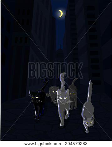 Cat mafia gang walking along the dark street, vector illustartion poster
