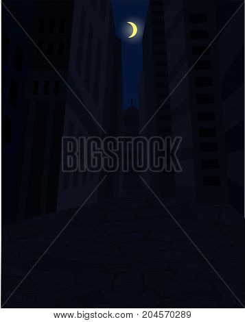 Dark street of city and the moon in the sky, vector illustartion
