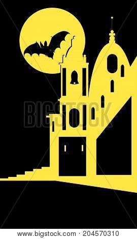 Vector image of church and dark sky with moon and the bat. Illustartion for hallowen in flat style