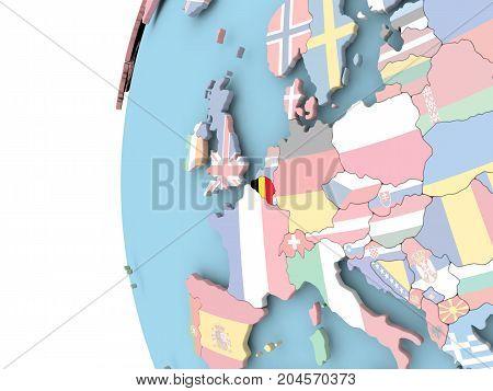 Flag Of Belgium On Political Globe