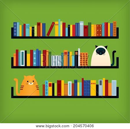 Vector colorful retro styled illustration. Three bookshelves. Ginger tabby and siamese cat sitting near the books. Green background. Square format.