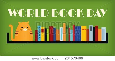 Vector colorful retro styled illustration of a tabby ginger cat sitting on a bookshelf. Text