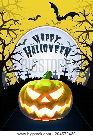 Jack o lantern glowing at foreground with cartoony style in the graveyard background for halloween greeting on bright yellow artwork