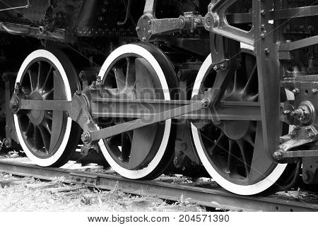 Closeup of old locomotive train wheels three white black and white image. Transportation vintage or power concept