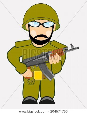 Soldier in helmet and with automaton on white background