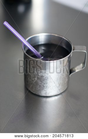 metal cup cold water gray fresh stainless