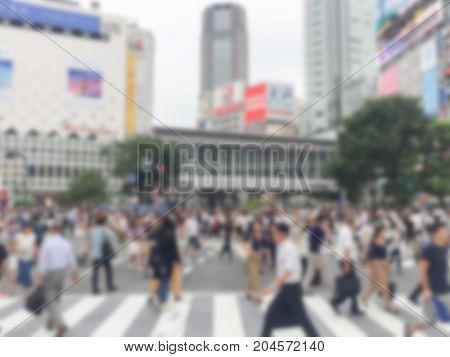 Blur image of a Shibuya cross .