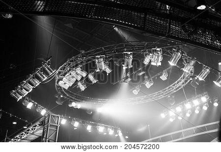Sportlight On Rooft Of Production On Studio