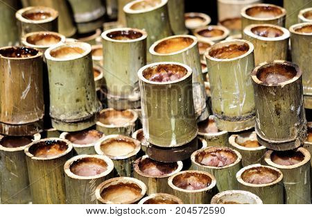 Sweet Sticky Rice in Bamboo joints or Glutinous Rice in Bamboo / Thai Traditional and Country Dessert. It's called