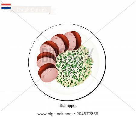 Dutch Cuisine, Illustration of Traditional Stamppot or Mashed Potatoes and Kale Served with Rookworst or Smoked Sausage. One of The Most Famous Dish of Netherlands.