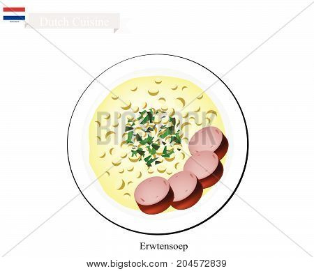Dutch Cuisine, Illustration of Traditional Erwtensoep, Snert or Split Pea Soup with Smoked Sausage. One of The Most Famous Dish of Netherlands.
