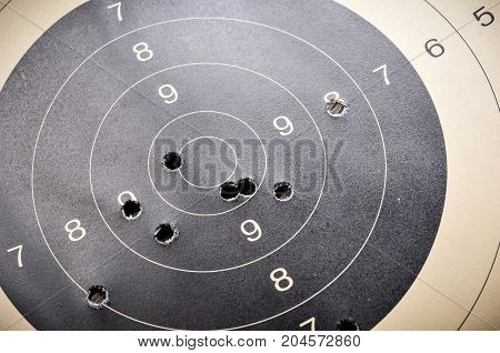 Goal setting with target, objectives and planning concept, top view, You can make a great target of business like a bullet target, bullet holes on paper target