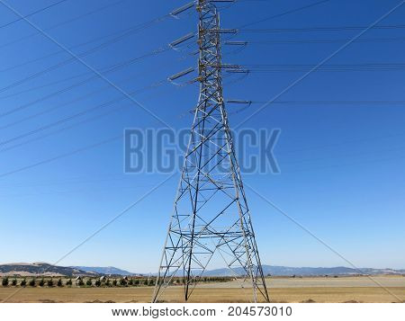 Industrial High Voltage Power Lines Tower in San Francisco Bay Area